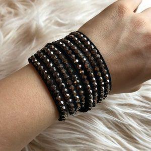Wraparound suede Swarovski bracelet